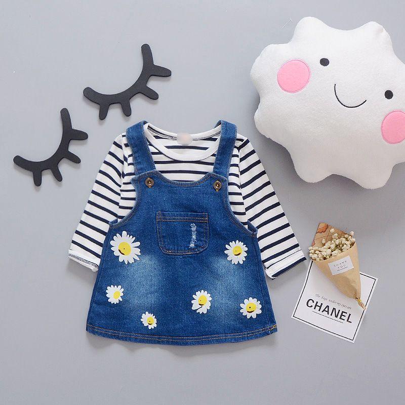 e2c4241d6328f Click to Buy << Infant baby girls denim dress shirt jeans suit ...