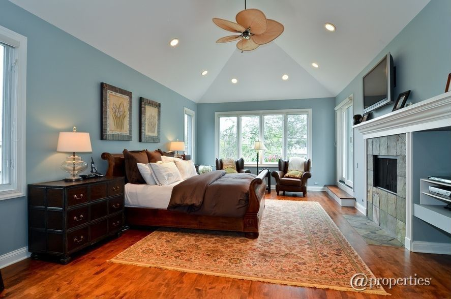 Modern Master Bedroom With High Ceiling Moultrie Park Sleigh Bed Ceiling Fan Hardwood Floors