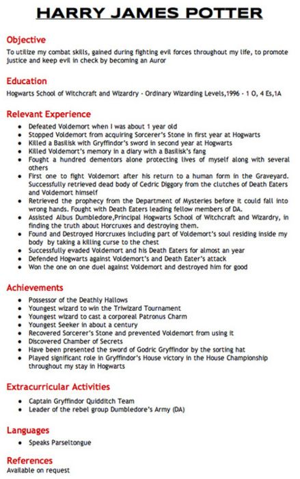 Harry Potteru0027s resume Funny Pinterest Harry potter - harry potter resume