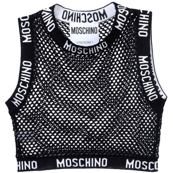Moschino Sleeveless T-Shirt found on Polyvore featuring tops, t-shirts,  black