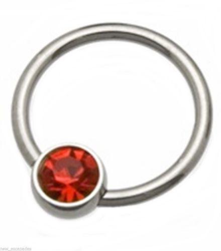 """Captive Lip Ear Eyebrow Ring 16 Gauge 3/8"""" w/Red 4mm Gem Steel Body Jewelry"""