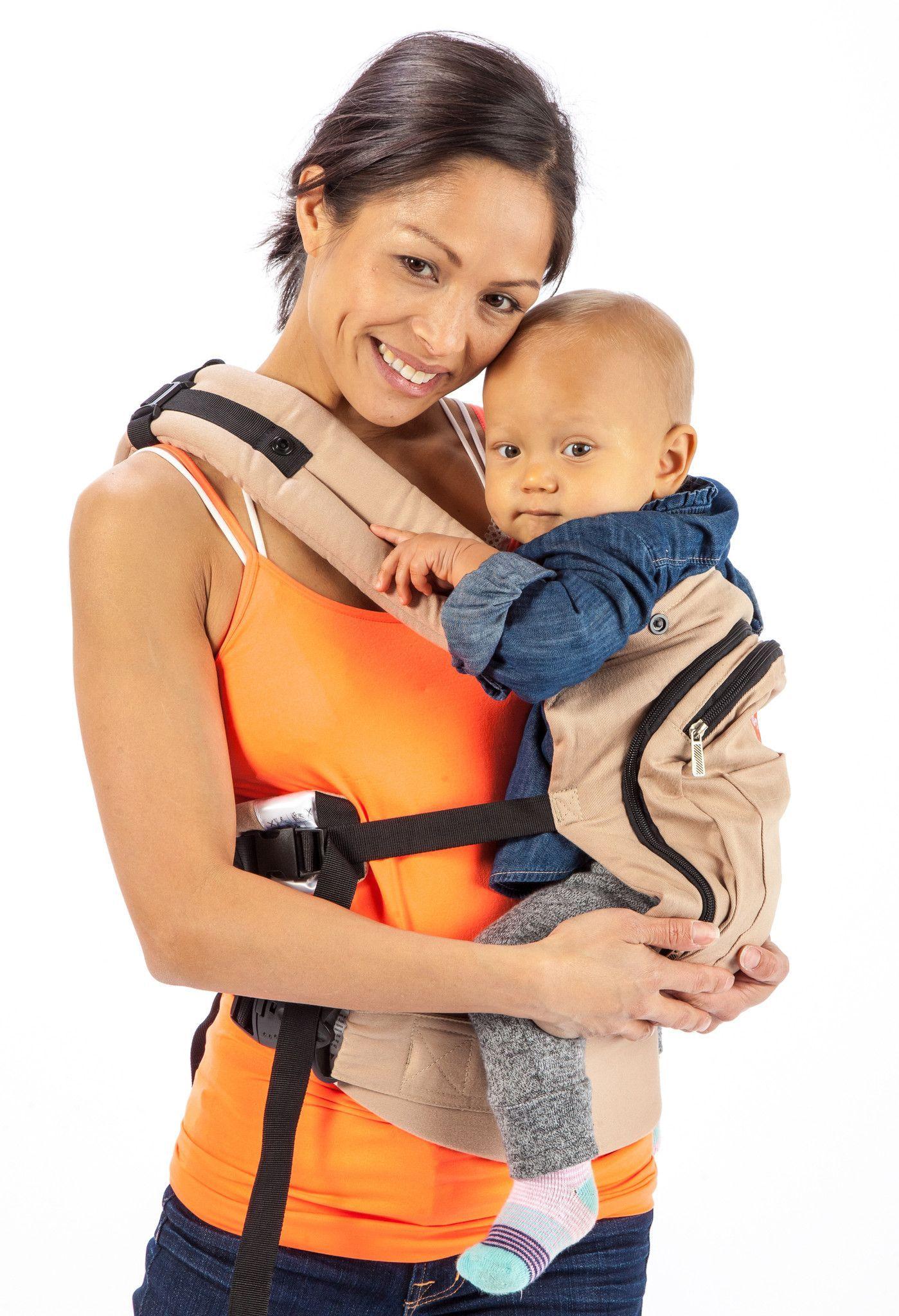 Mo+m® Ergonomic Baby Sling Carrier w/ Mesh Cooling Vent, Hood & Pockets