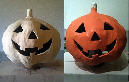 Halloween Crafts Pumpkin Of Paper Mache3 Lets Make More Stuff - Calabaza-de-papel