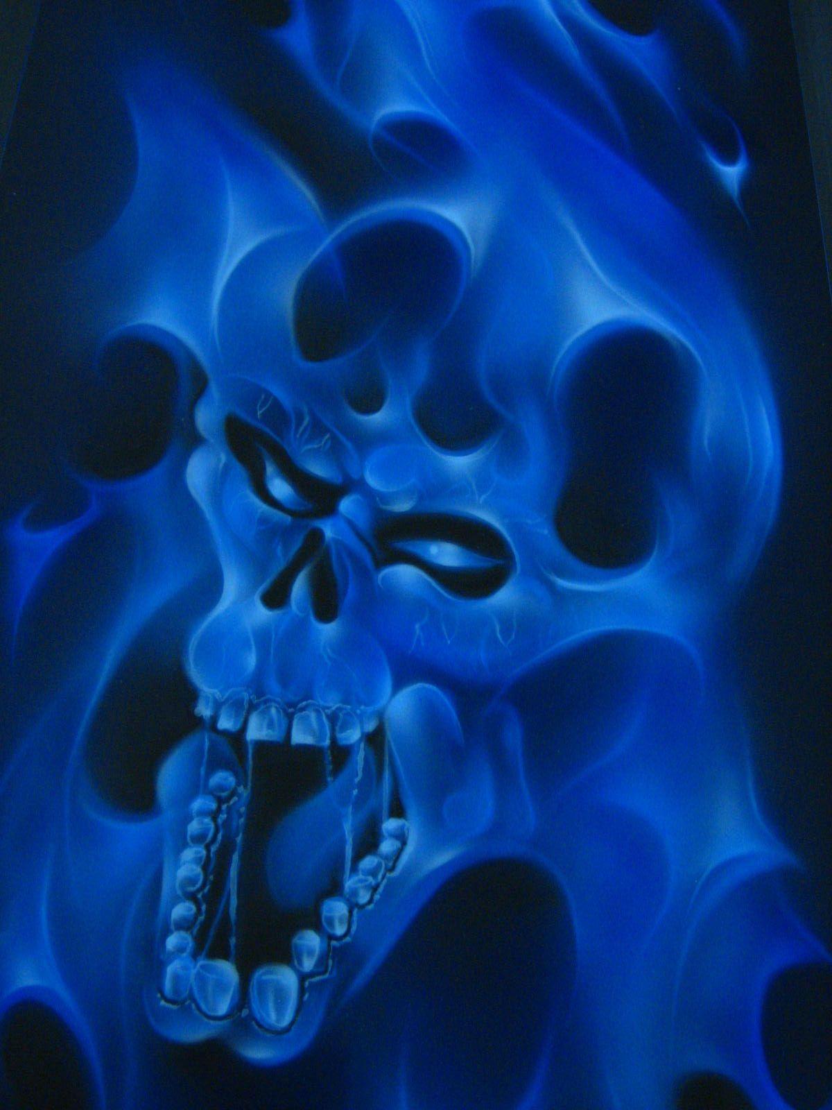 Blue Flames | front blue, blue, flames, skull | FLAME ART ...
