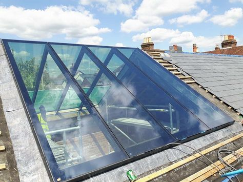 Structurally glazed dual pitched rooflight #loftconversions