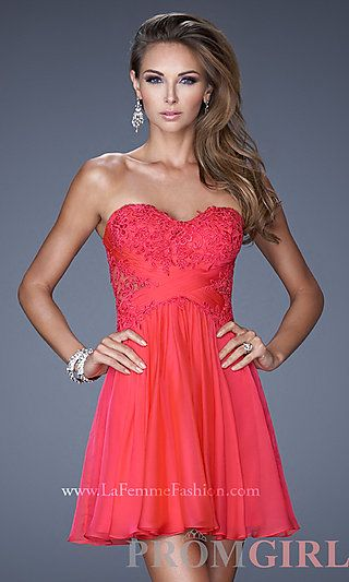 Short Strapless Sweetheart La Femme Dress at PromGirl.com | Prom and ...