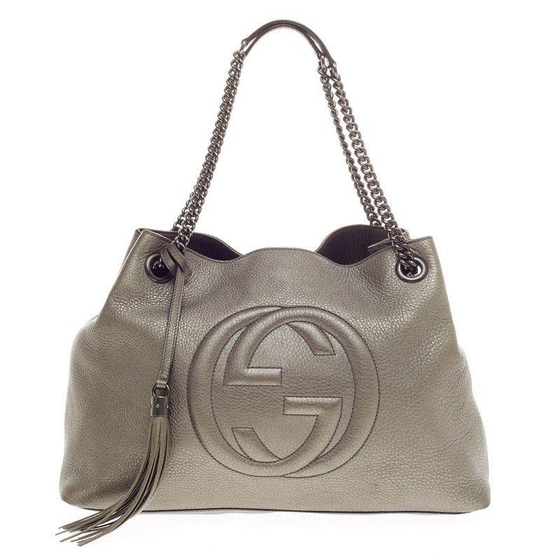 Gucci Soho Shoulder Bag in metallic pewter $1,225