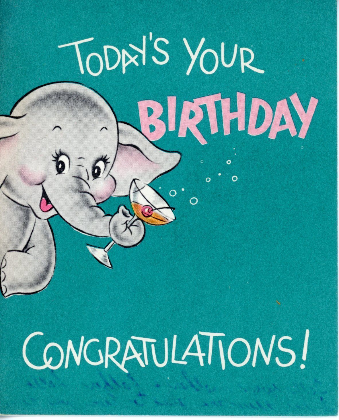 Vintage Norcross Birthday Greeting Card Elephant W Cocktail 1718 For Sale 3 00 See Photos Mon Vintage Birthday Cards Birthday Greetings Vintage Birthday