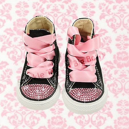 3270ff981edf Custom Pink Swarovski Crystal Rhinestone Baby Toddler High Top Converse  Bling Shoes on Etsy
