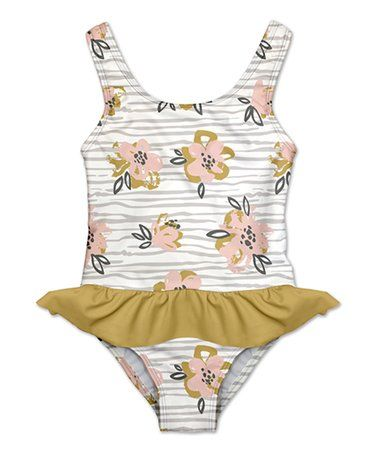 42083c4ab Penelope Plumm | White & Gray Floral Stripe Skirted One-Piece - Infant,  Toddler & Girls | Sale Items for Munchkins | Floral stripe, Stripe skirt,  ...