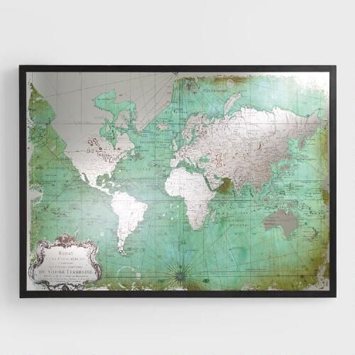 Art wall decor our antique green world map is printed on mirrored glass for added visual intrigue a simple black frame completes the look