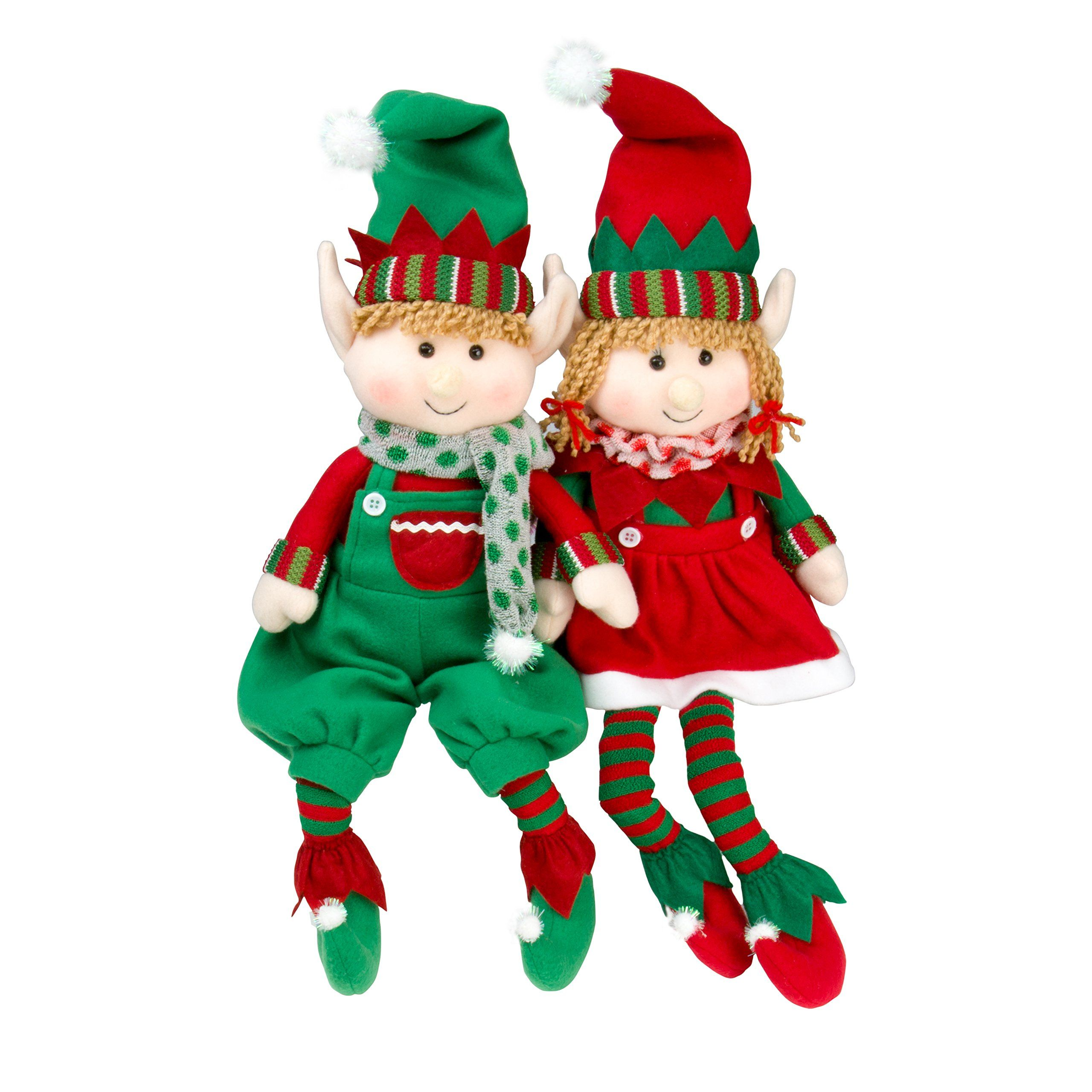 "Elf Plush Christmas Stuffed Toys 12"" Boy and Girl Elves Set of 2"