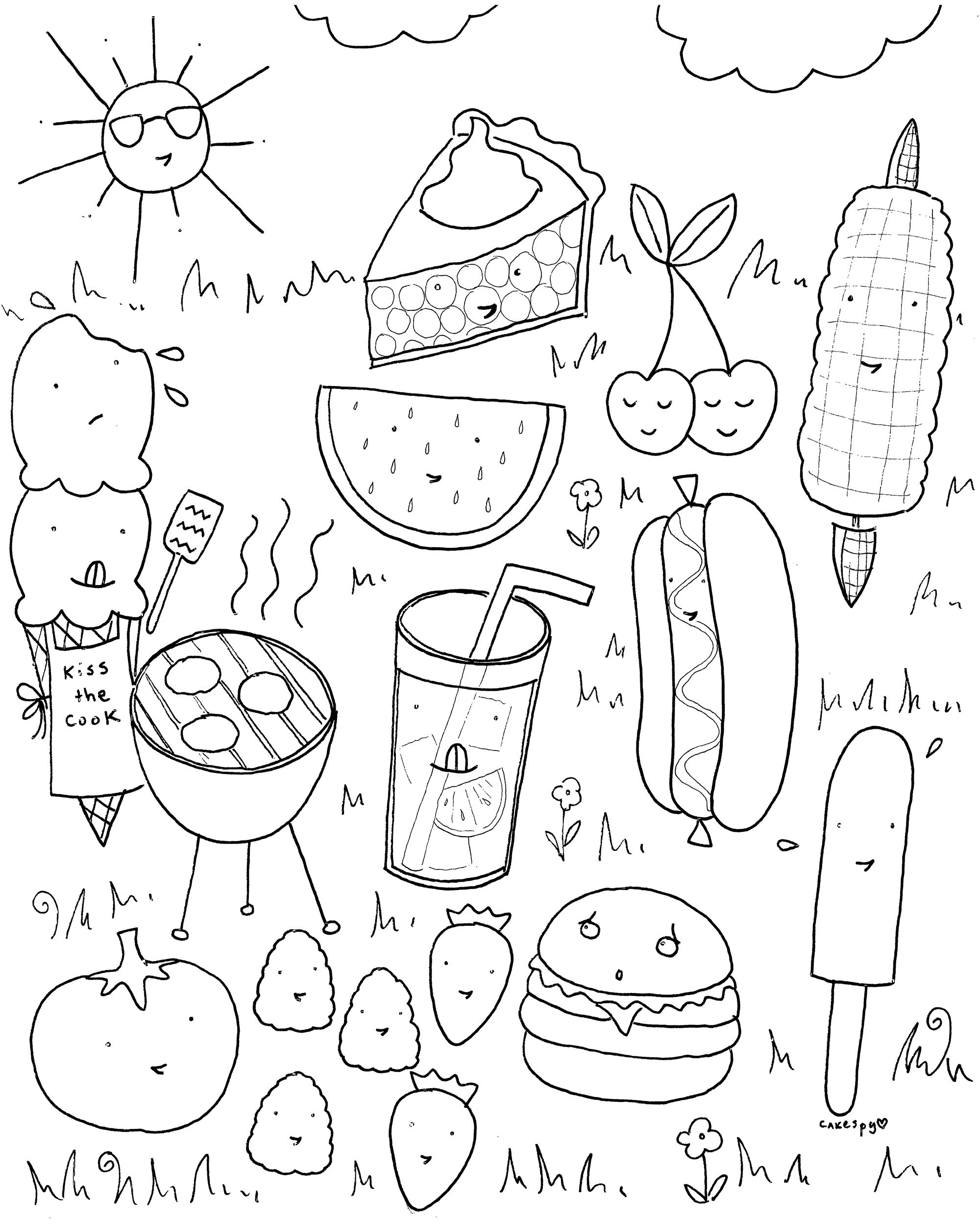 Sommer Ausmalbilder Nicht Nur Fur Kinder Free Printable BBQ Summer Food Coloring Book Page