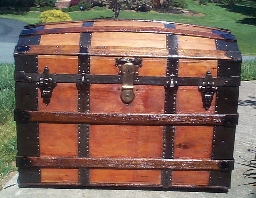 restored all wood humpback or dome top antique trunk for sale 634 - Restored All Wood Humpback Or Dome Top Antique Trunk For Sale 634