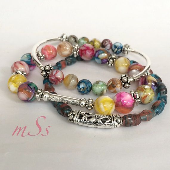 Gemstone Bracelets Stretch Bracelet SetColorful by mSsDdesigns