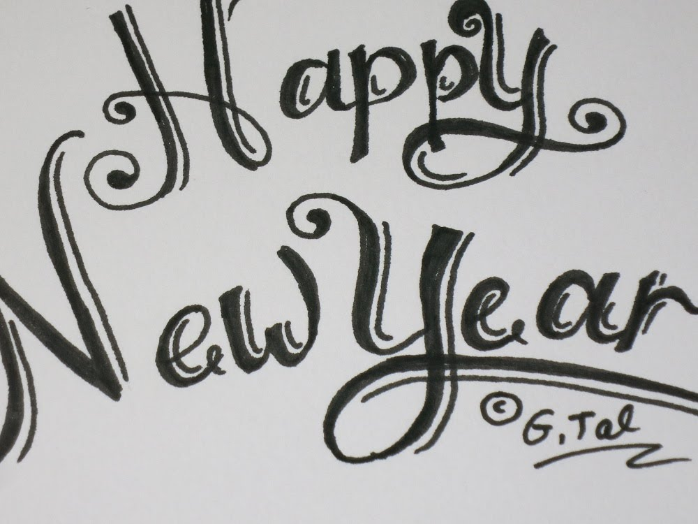 Write Happy New Year Card Easy Fancy Swirly Letters