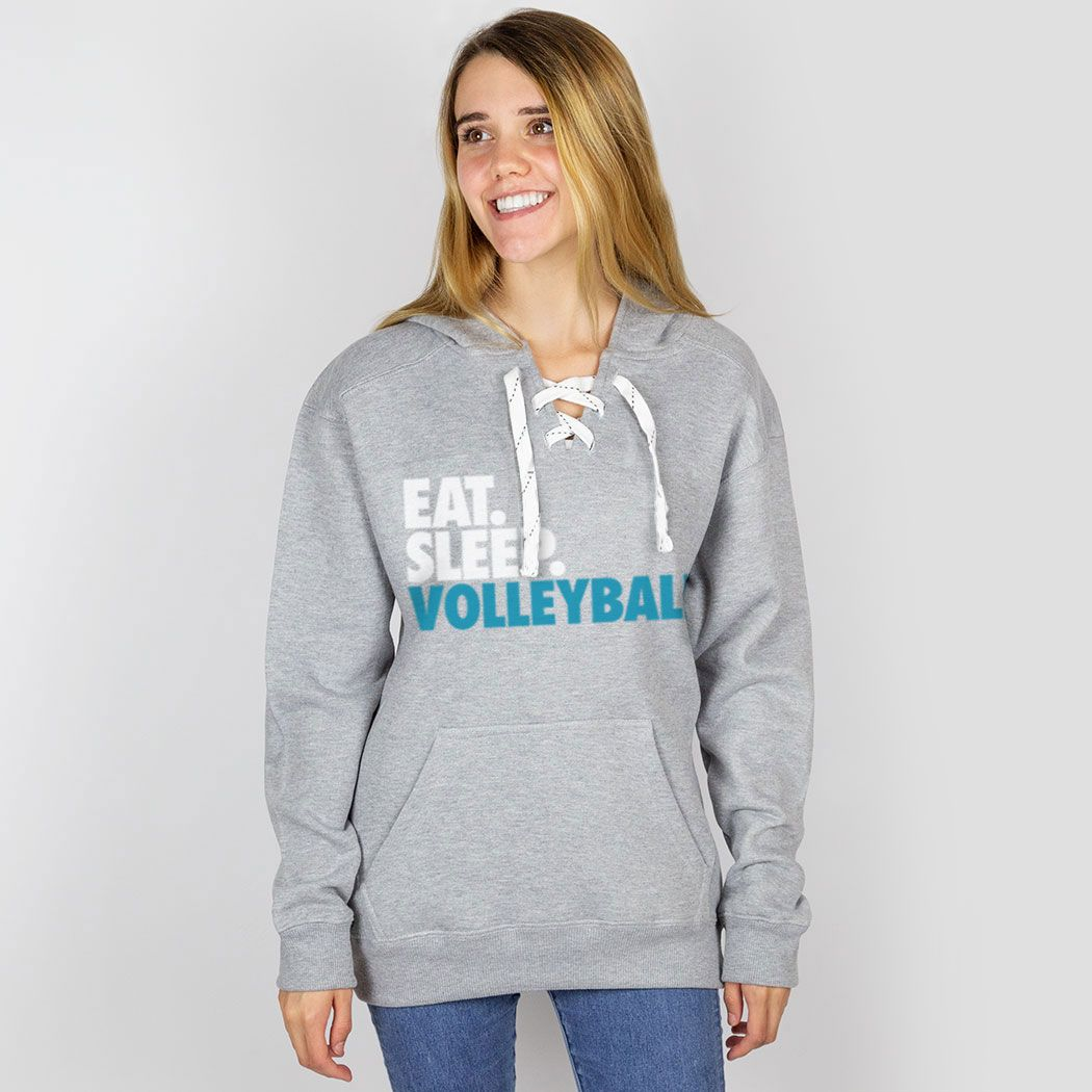 Volleyball Sport Lace Hooded Sweatshirt Eat Sleep Volleyball Volleyball Hoodie Apparel For Girls Volleyball Adult Medium Volleyball Stylish Hoodies Sweatshirts Lace Sweatshirt