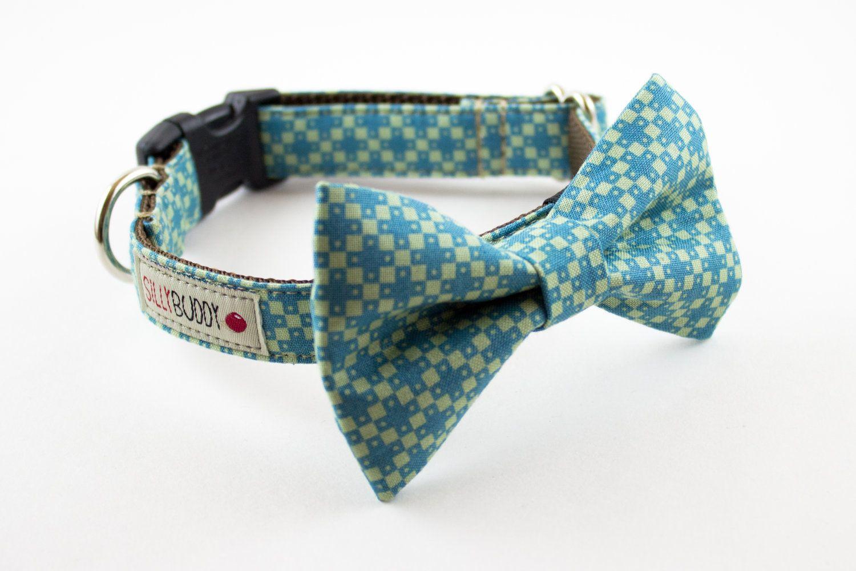 Blue Green Geometric Bowtie Dog Collar Handmade dog