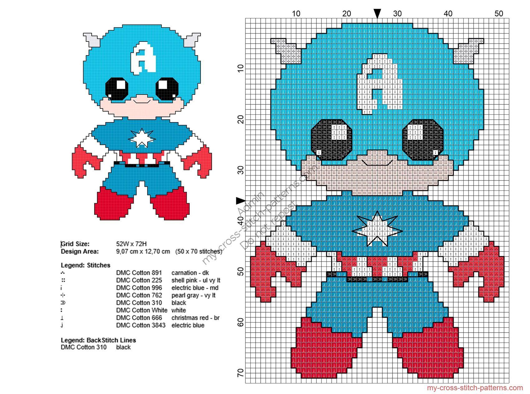 Baby Capitán América patron punto de cruz Superheroes | Colcha ...