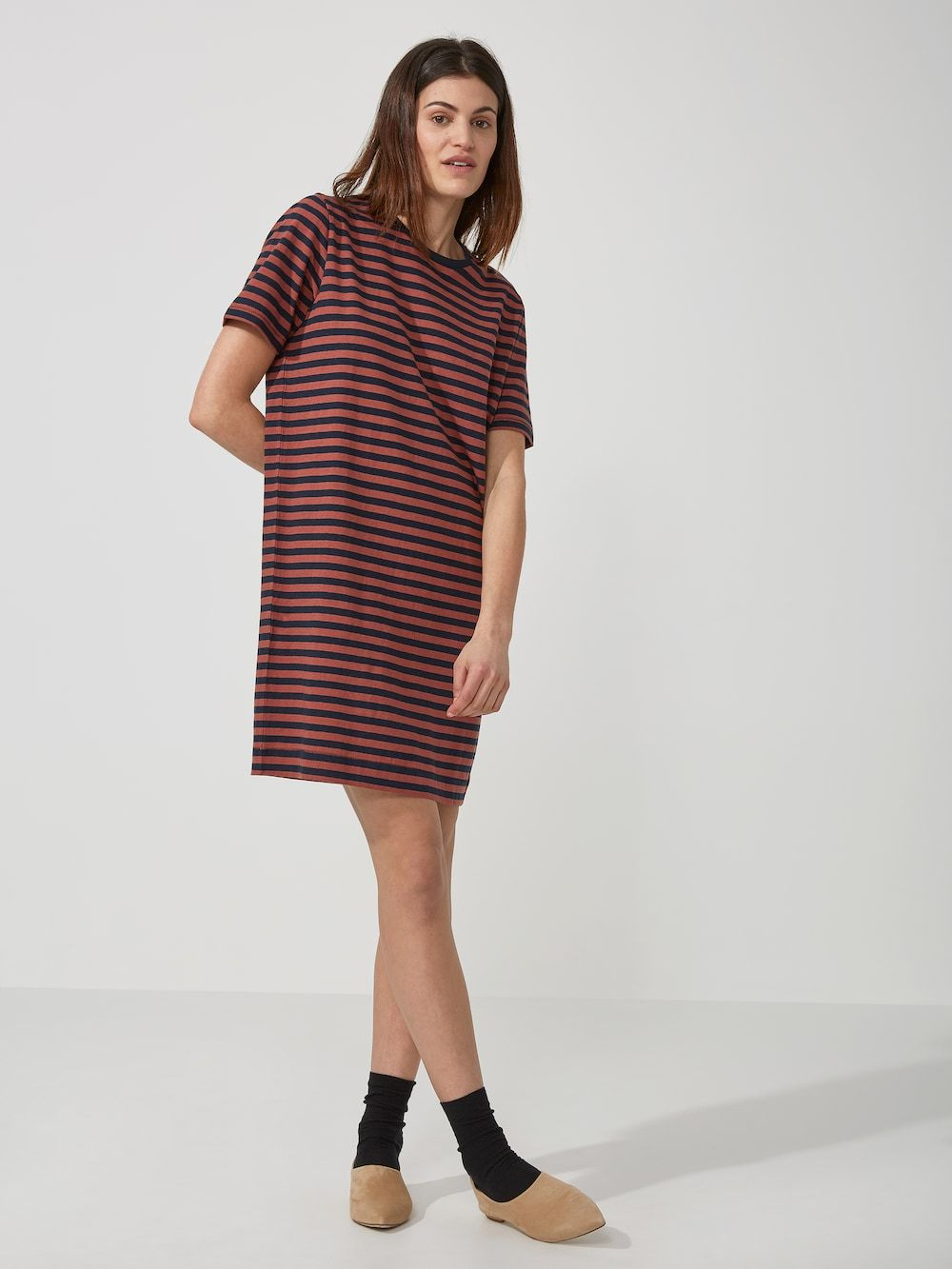 de58f150d56 Striped Linen Blend T-Shirt Dress in Dark Saphire and Red