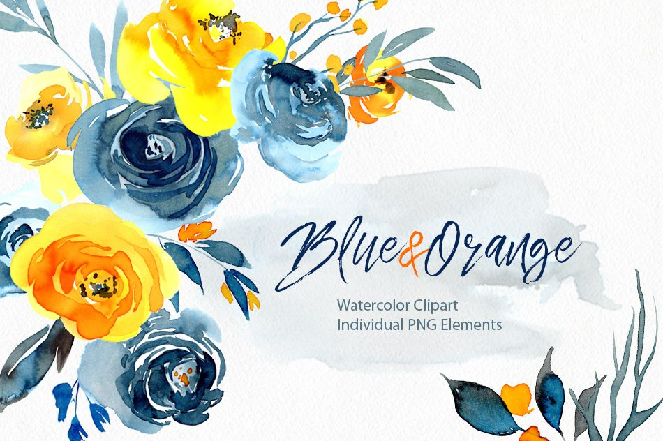 Watercolor Blue Orange Yellow Flowers Png Flower Clipart