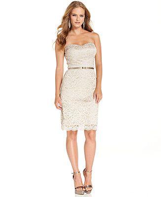 d4a720e83c Luxology Dress, Strapless Glitter Lace Belted Sheath - Dresses - Women -  Macy's