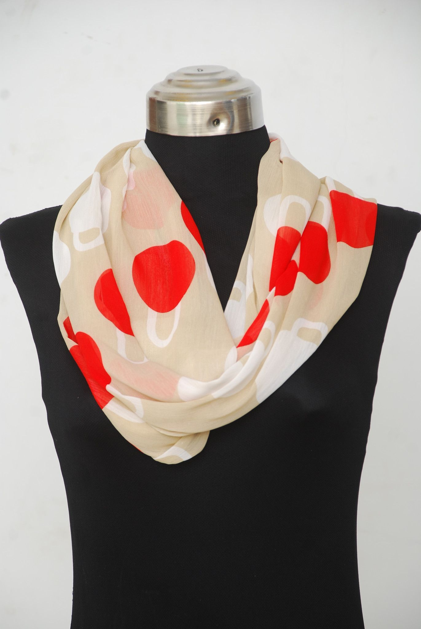 Women Lightweight Beige Red White Circle Abstract Print Chiffon Infinity Scarf