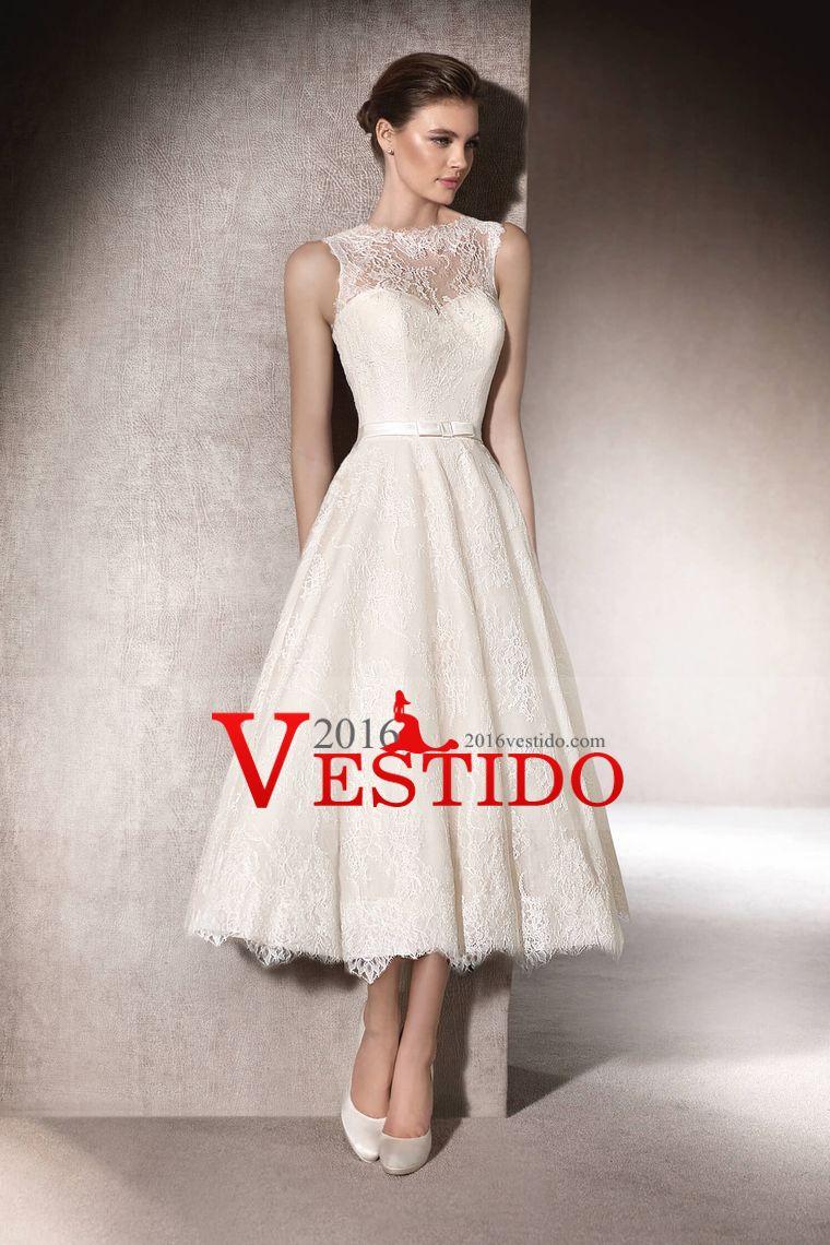 2017 Una línea vestidos de boda del cordón de la cucharada con el ...