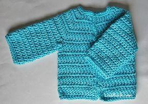Megans Easy Crochet Baby Cardigan pattern by LisaAuch #crochetbabycardigan