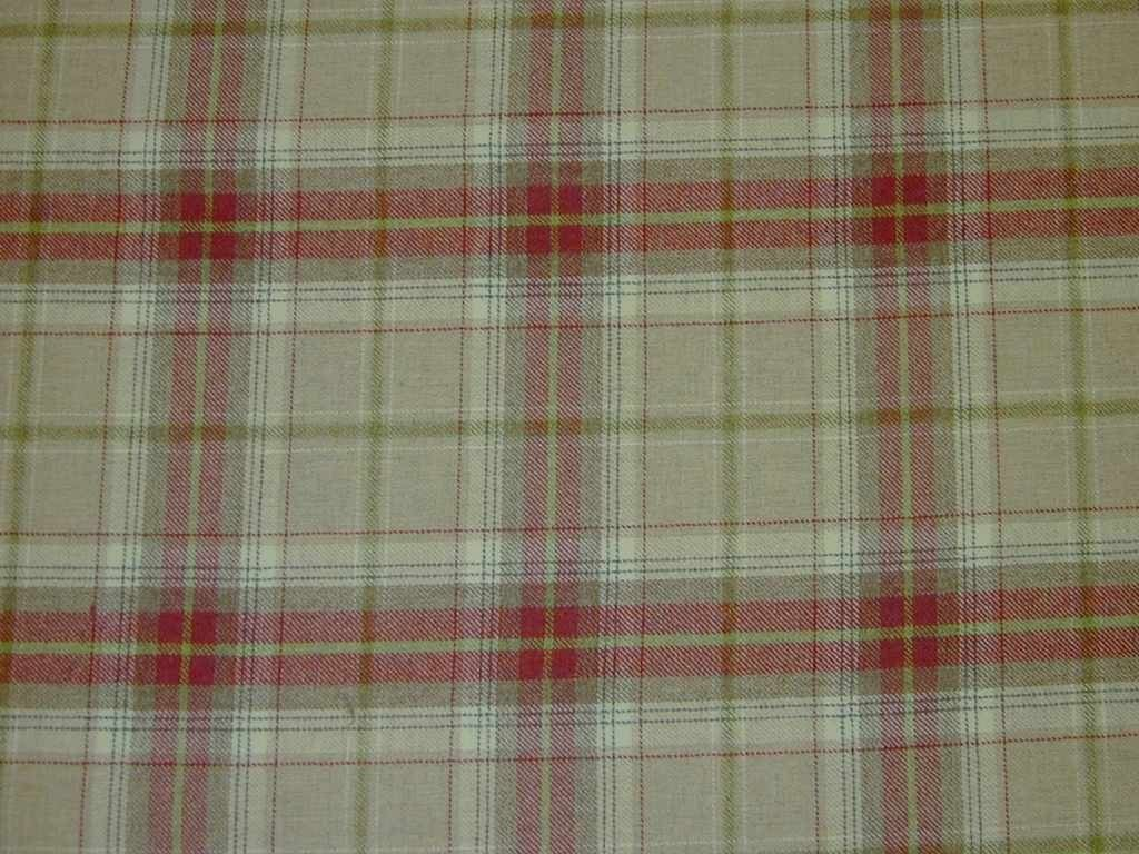 Wool Tartan Check Red Beige Curtain & Upholstery Fabric - The ...