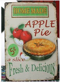 Vintage Tin Plate Signs Home Made Apple Pie Wall Decor House Cafe Shop Painting