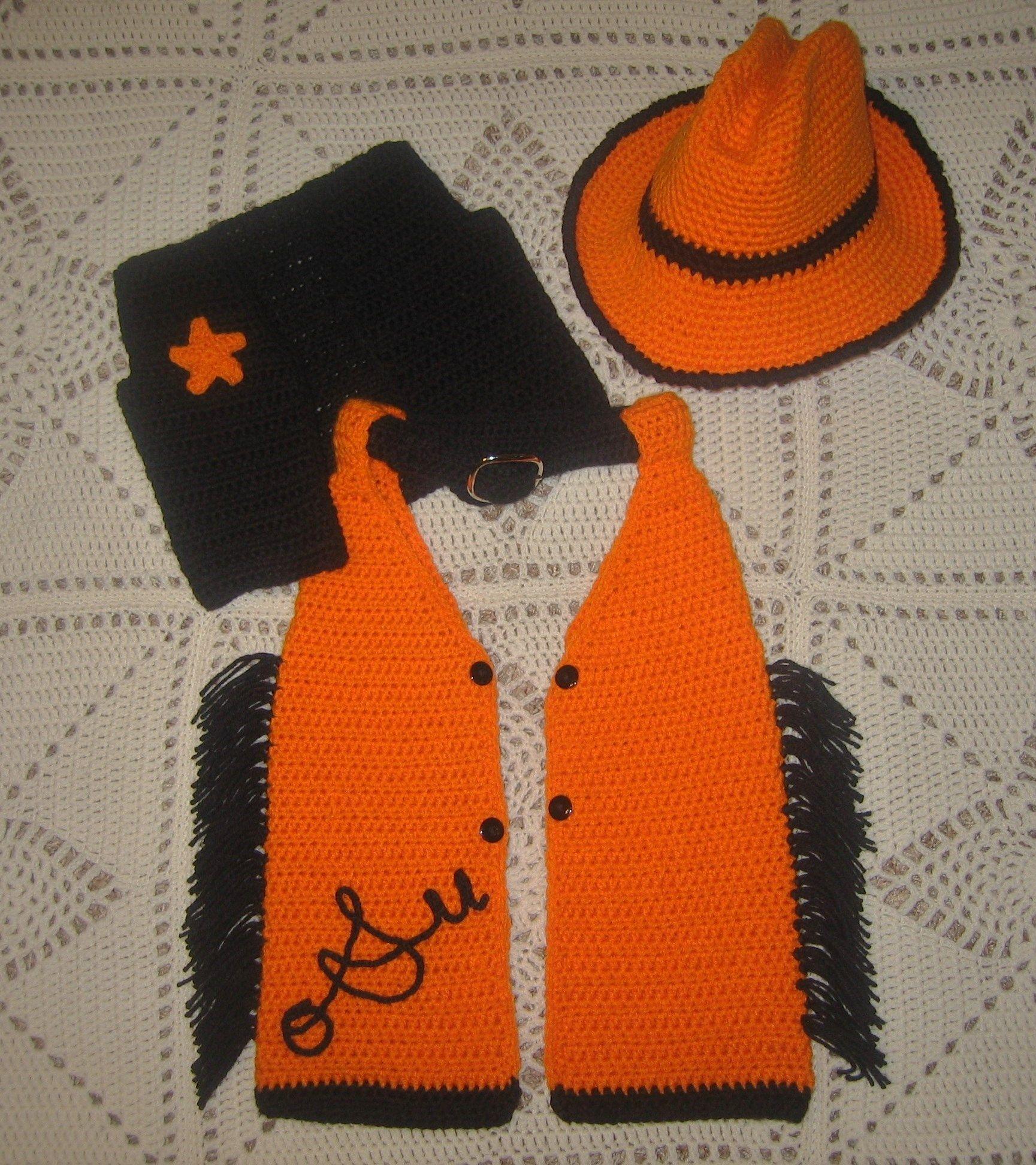 crochet pistol pete halloween costume. fringed chaps, vest and
