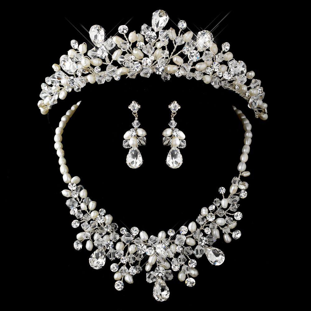 Swarovski Crystal Pearl Bridal Tiara Jewellery Set Austrian