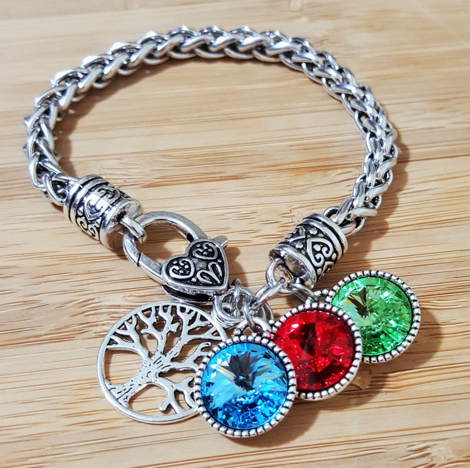 Mom Bracelet With Birthstones Grandma Birthstone Gift Tree Of Life By Kainsboutique