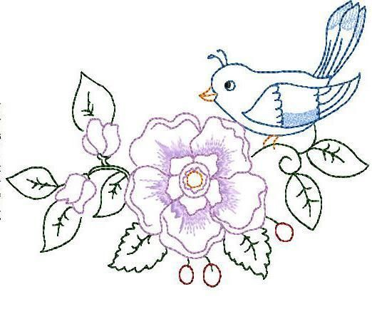 Bird and flower hand embroidery sizes