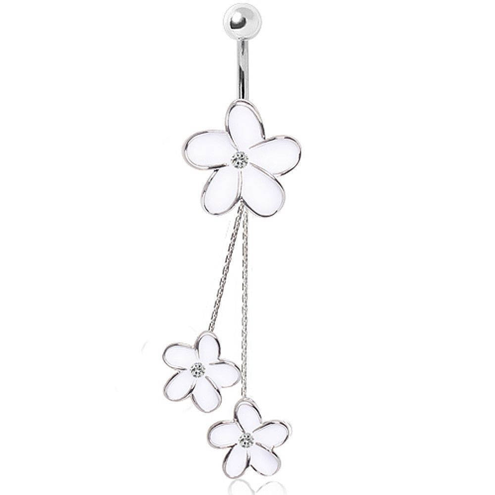 Belly button piercing healing process  L Surgical Steel Enameled White Daisies Chained Navel Ring