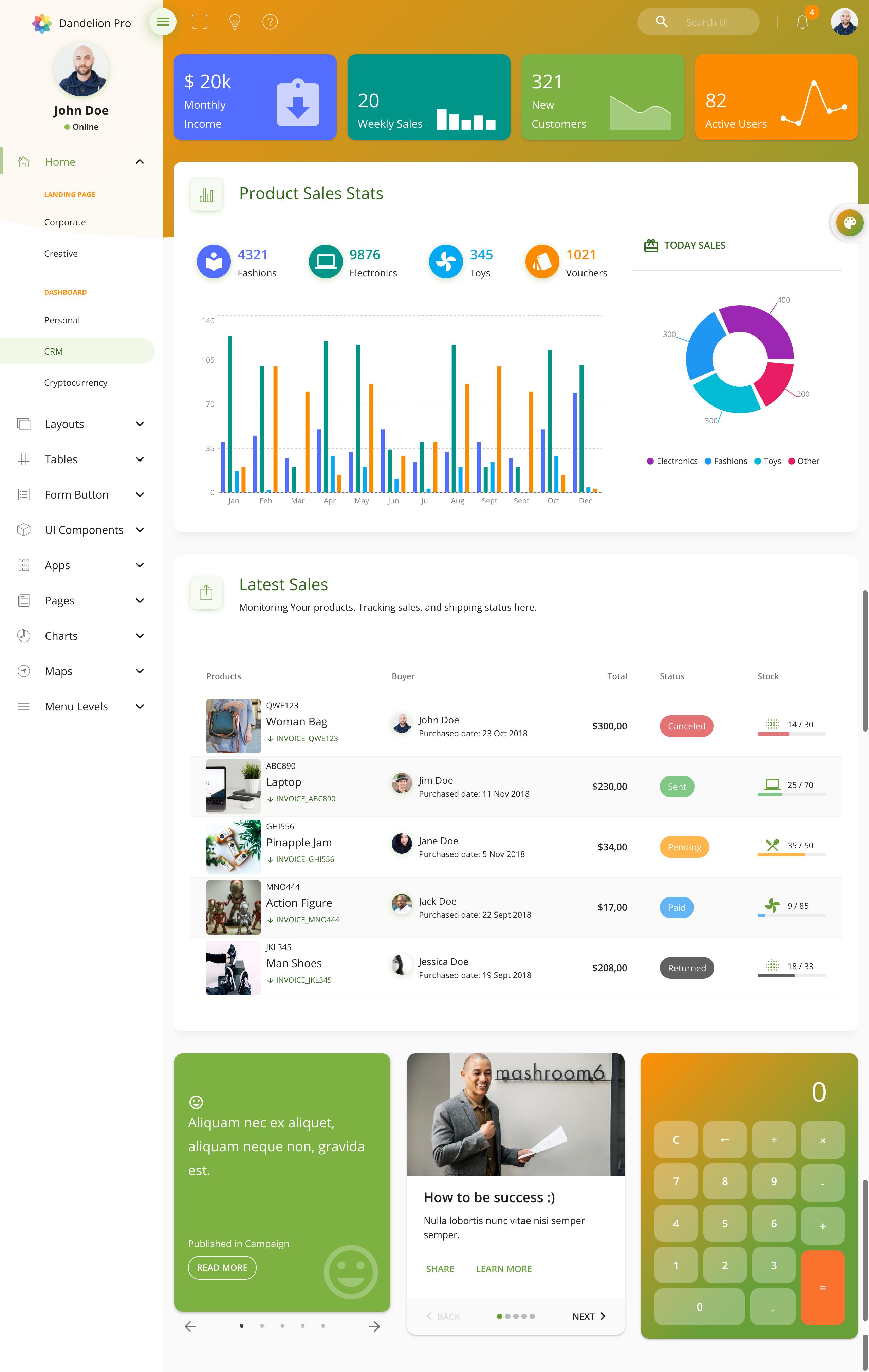 Dandelion Pro - React Admin Dashboard Template #React, #Pro