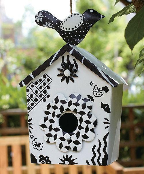 Birdhouse White Metal Cottage