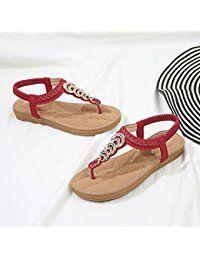 c5ca169f8c7 Women s Rhinestone Thong Elastic Sandals Summer Beach Bohemia T-Strap Flip  Flops Flat Shoes
