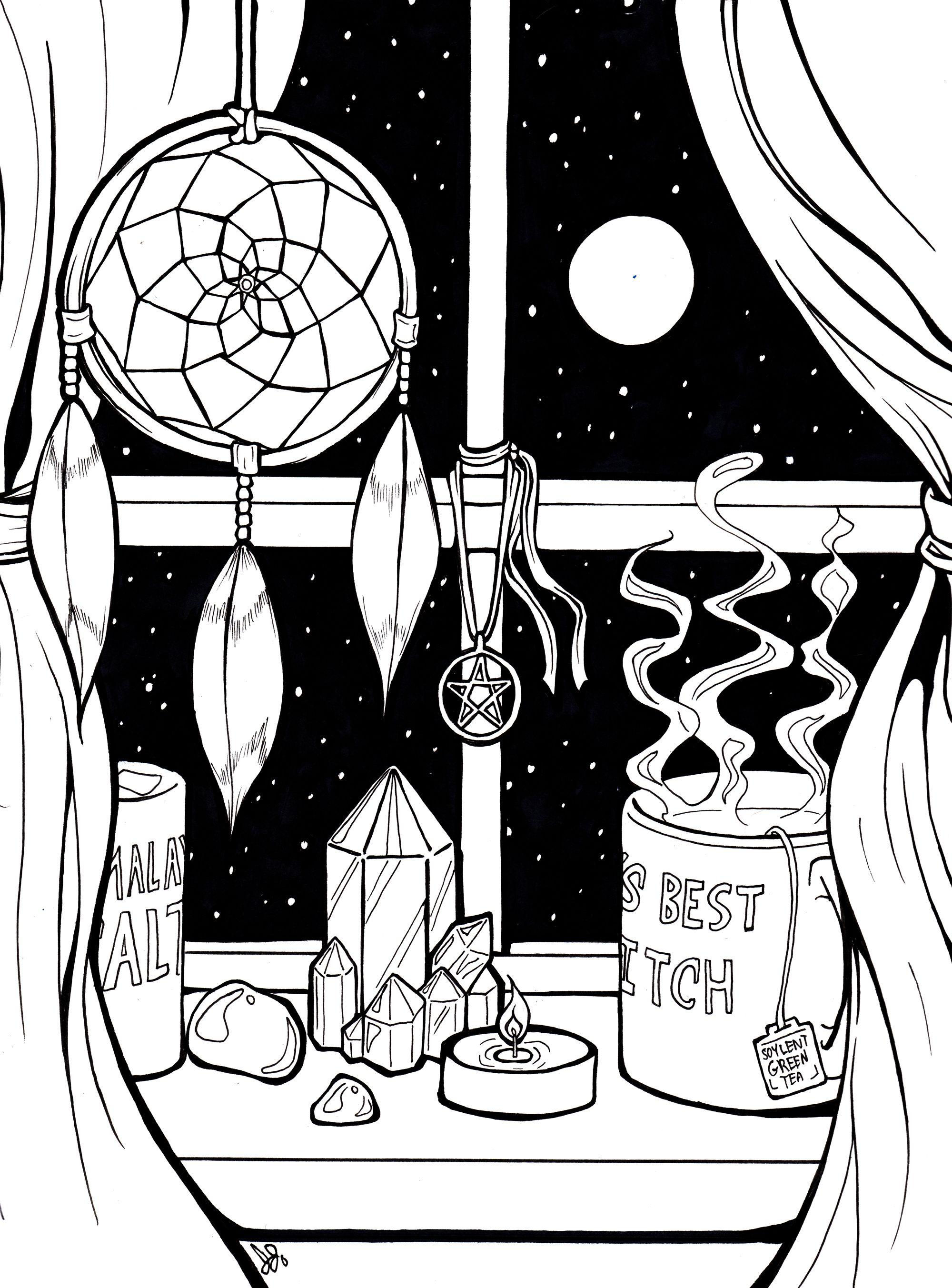 Inktober Day 4 A Witch S Window Shelf Witch Drawing Window Drawing Window Illustration