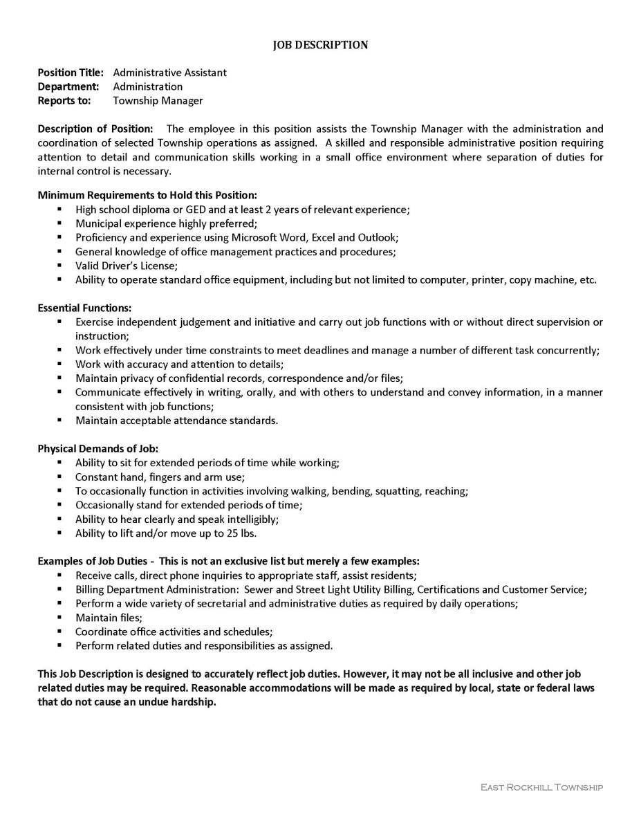 Administrative assistant Duties Resume Newest