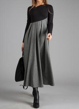 Photo of Christmas Elegant Color Block V-Neckline Long Sleeve Midi Dress $53.99