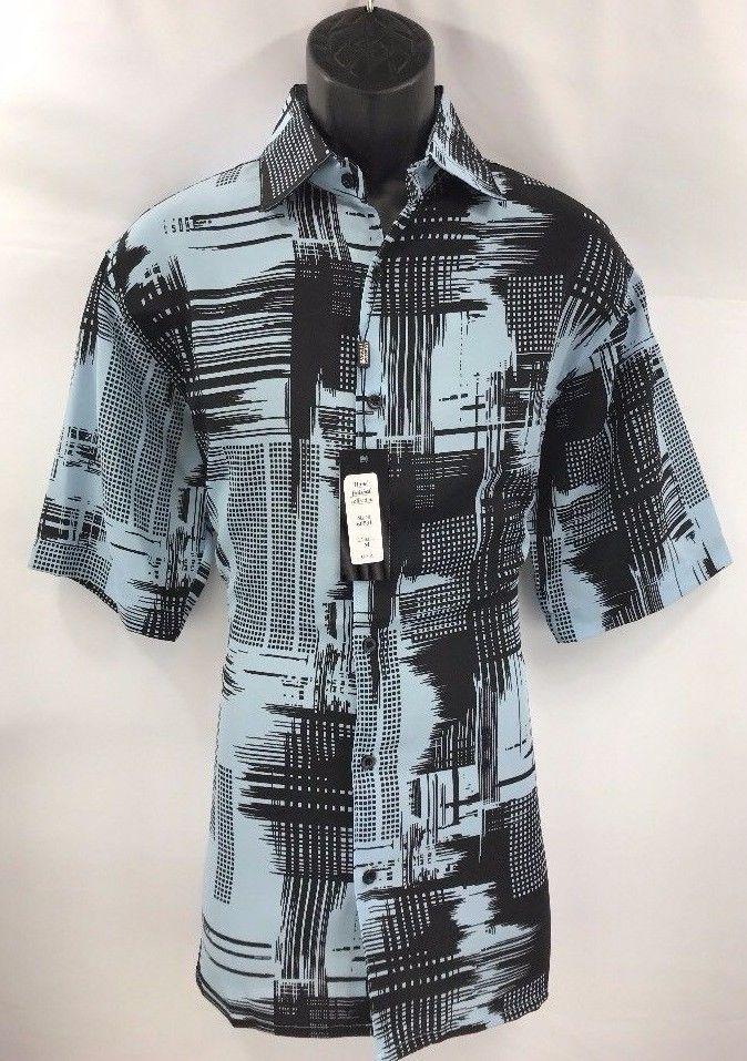 6015cc34036 Bassiri Men s Shirt Short Sleeve Powder Blue Black Microfiber Sizes M - 4XL   Bassiri  DressyCasualShirt