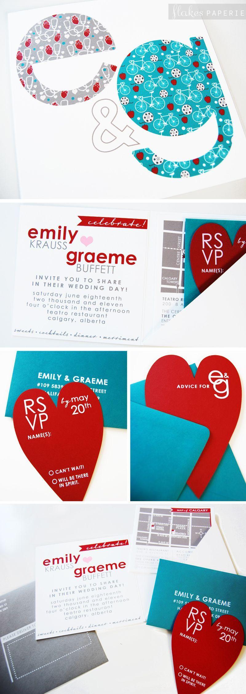 Colourful, fun design for Emily + Graeme! Screen-printed ...