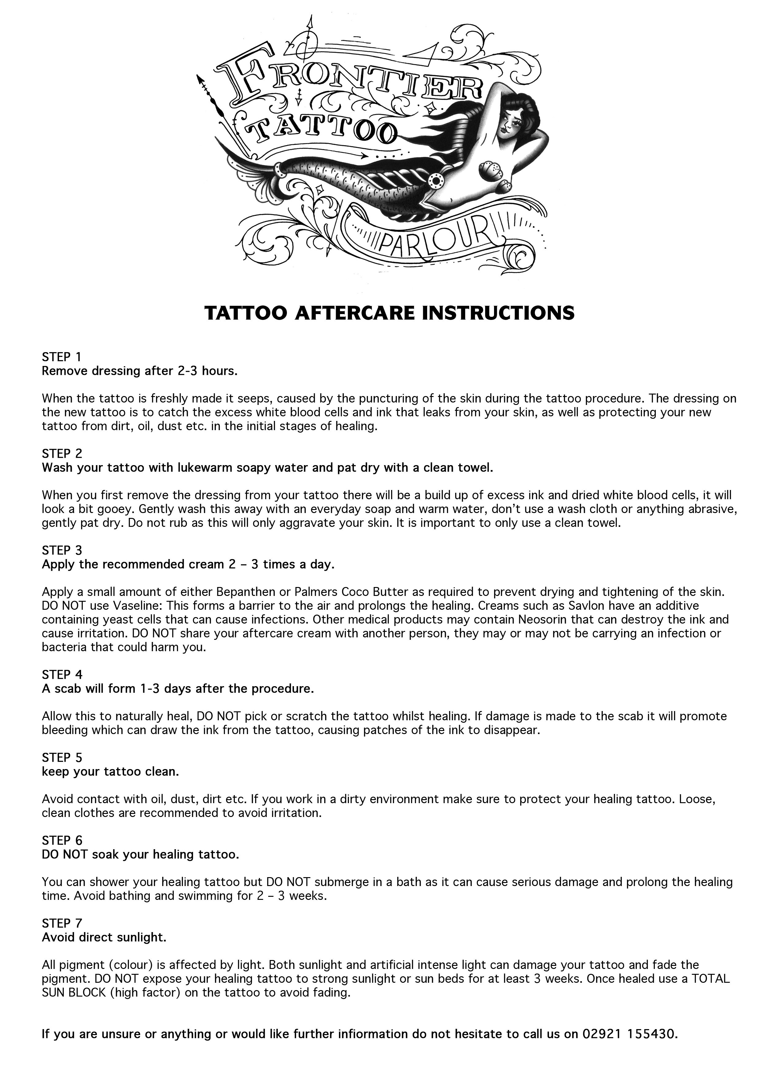 Tattoo Aftercare Frontier Tattoo Parlour Tattoos And Piercings