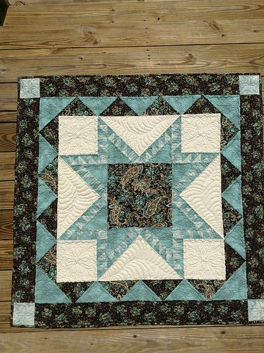 Brown & teal star quilt