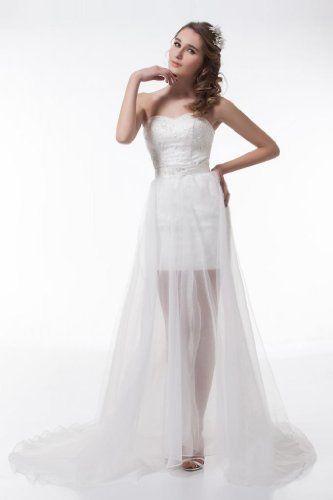 GEORGE DESIGN High Low Strapless Sweetheart All Over Lace Detached Train Wedding Dress Size 4 White GEORGE BRIDE,http://www.amazon.com/dp/B00B7BOYBW/ref=cm_sw_r_pi_dp_1R0Trb25F99F46B2