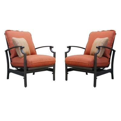 Thomasville Messina Concealed Motion Patio Club Chair With Paprika Cushions  (2 Pack)