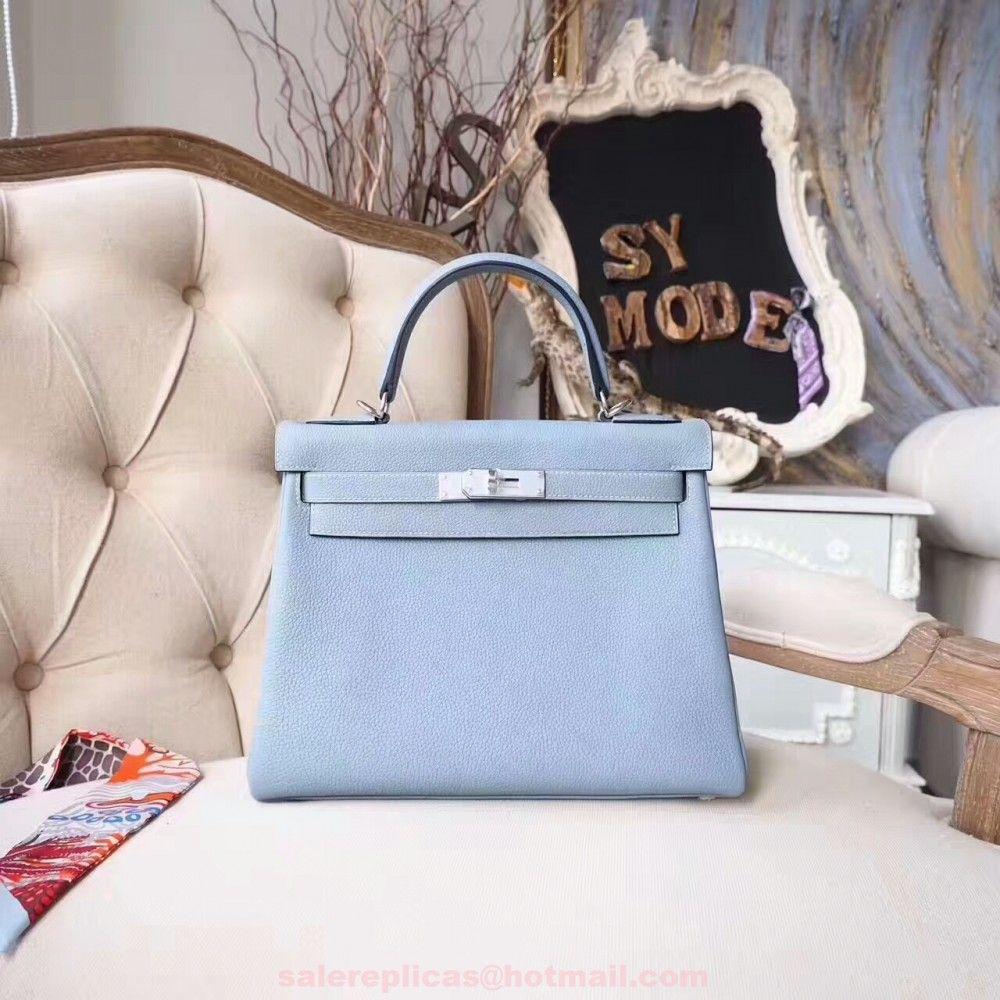 68663dc94bd5 Hermes Blue Lin Kelly 28CM Bag Togo Leather - Palladium Hardware ...