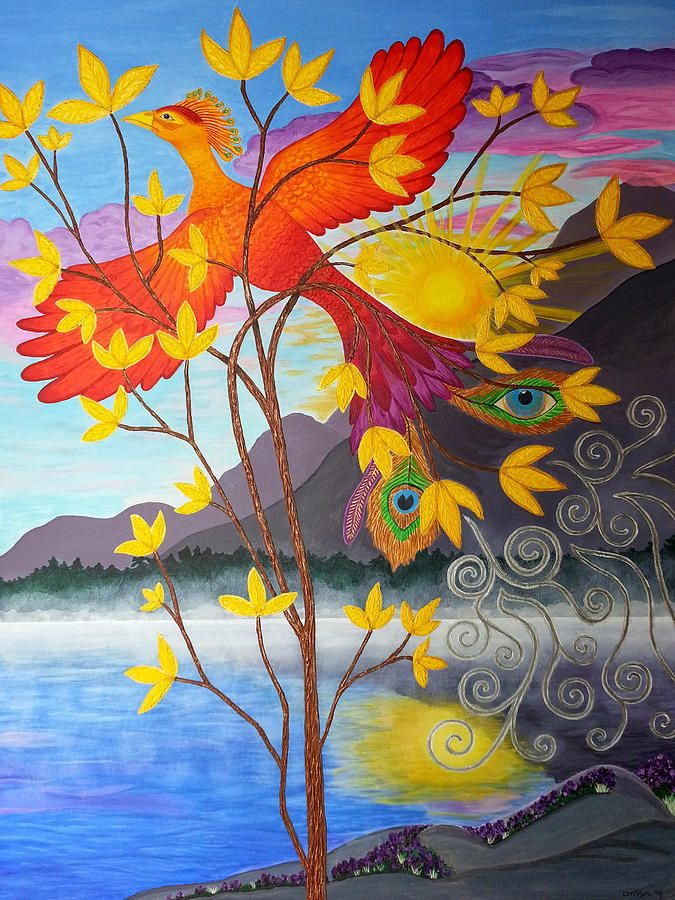 Phoenix Painting - Phoenix Rising To New Life by Michelle Vyn - new certificate of authenticity painting